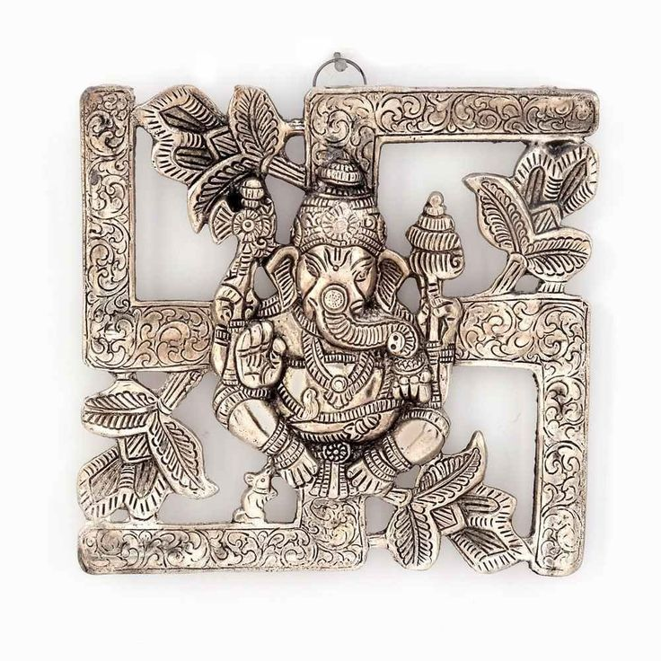 Buy Antique White Metal Swastik Ganesha Hanging 313 Online India At Kraftly