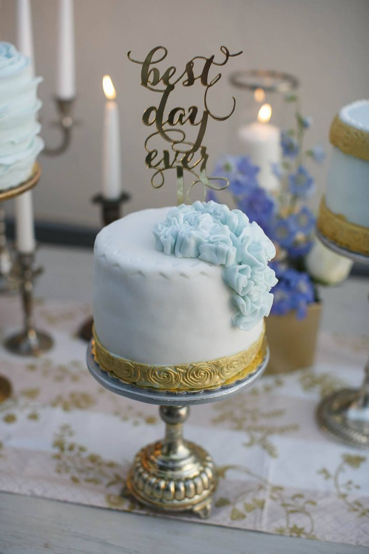 Wedding cake inspirations   cake topper   light blue and gold cake   vintage cake stand   One tier wedding cake   Wedding in Greece