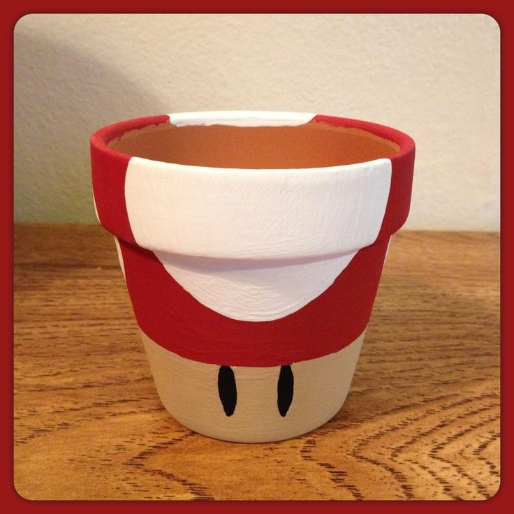 Super Mario Mushroom Planting Pot (Red). $10.00, via Etsy.