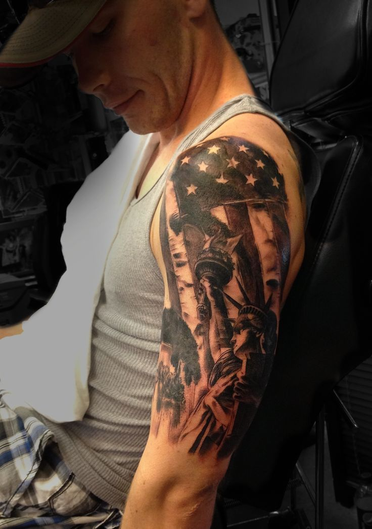 American flag liberty half sleeve Tattoo done by Angela Grace at Damask Tattoo in Seattle, WA