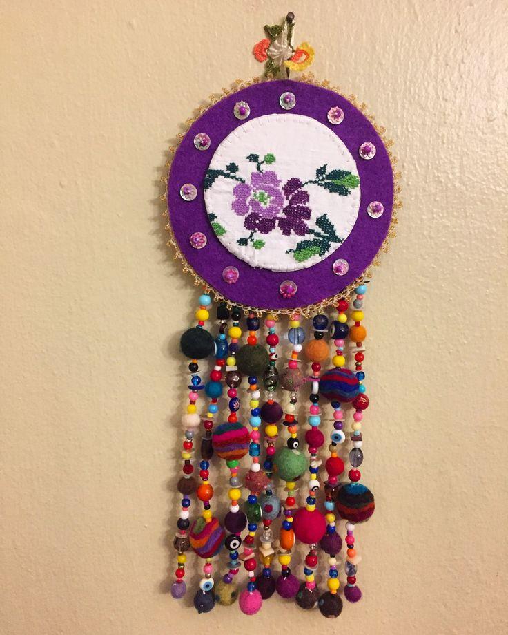 Nazarlık, nazar, nazarboncuğu, keçe, keçe nazarlık, felt, feltro, felt amulet, amulet, kanaviçe, cross stitch, handmade, design