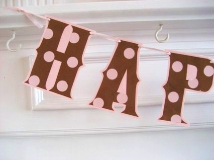 HAPPY BIRTHDAY Banner  Pink/Brown polka dots by Devany on Etsy, $15.00: Pattern, Birthday Parties, 1St Birthday, Happy Birthday Banners, Sugar And Spice