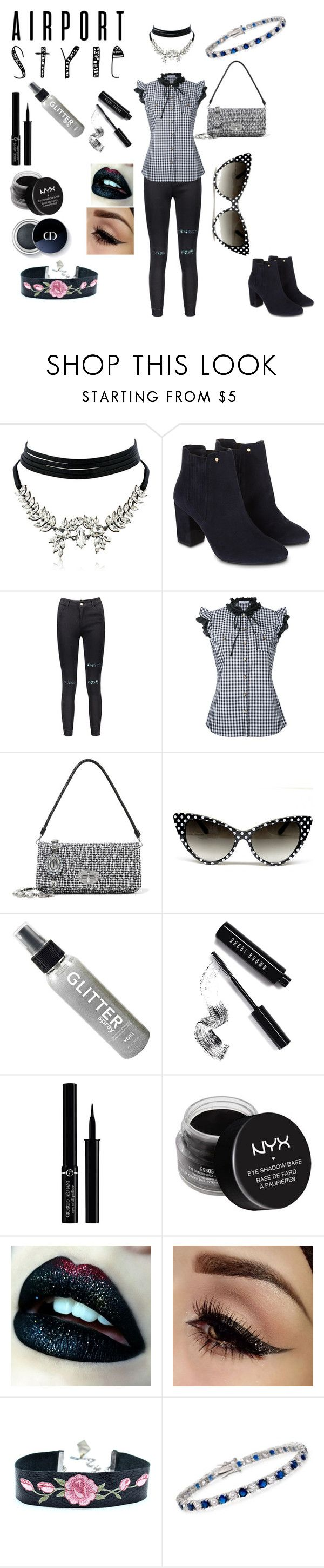 """""""Goth Airport style"""" by angie-g-snowfire ❤ liked on Polyvore featuring WithChic, Monsoon, Guild Prime, Miu Miu, Bobbi Brown Cosmetics, Giorgio Armani, NYX and Ross-Simons"""