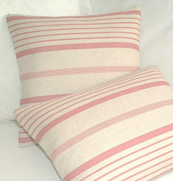 Kate Forman Ticking Stripe Linen Cushion Lumbar Throw