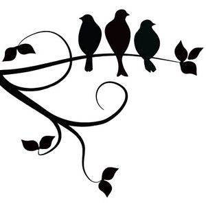 three birds on a branch. I love the simplicity of this design, but I really want them in flight.