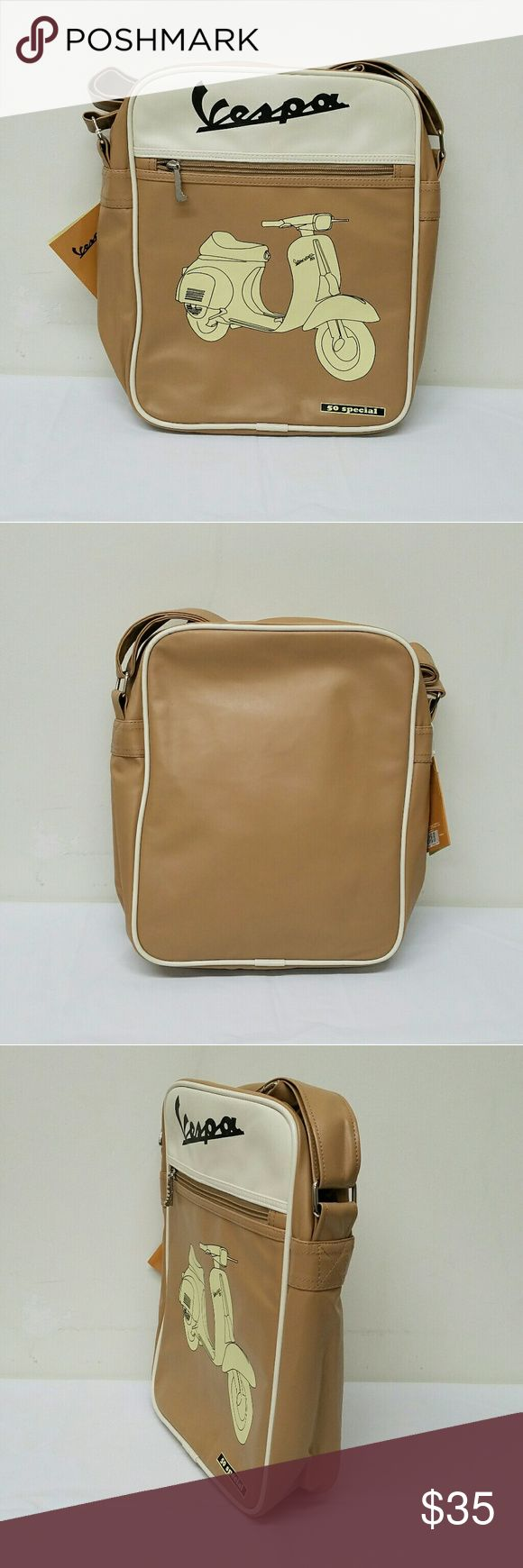 Vespa Beige Shoulder Bag Eco-leather. Adjustable shoulder strap. Inner zippered pocket. Extra compartments. Brand new with tags. Vespa Bags