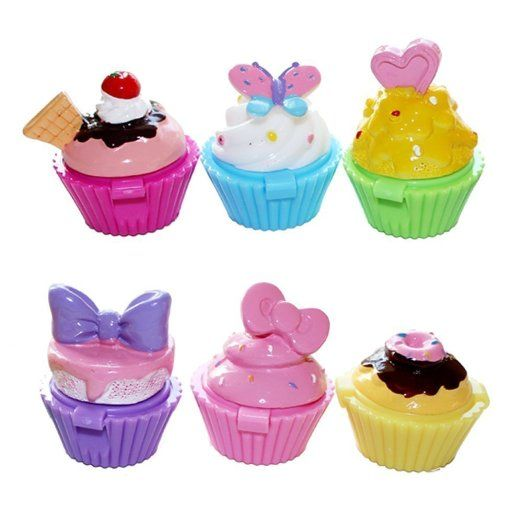 Jalousie Novelty Cupcake Lip Gloss 6 Piece Girls Birthday Party Favors FDA Approved