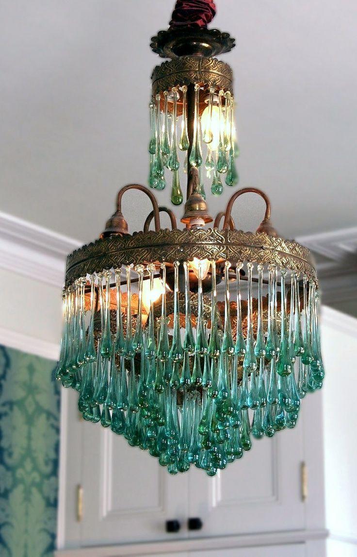 teal drops chandelier