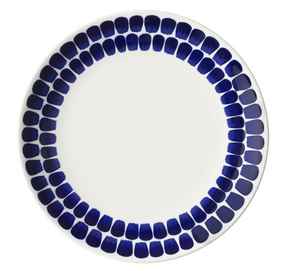 A Finnish design classic from 1943 by Heikki Orvola with blue & white decoration by Helorinne & Kallio.    The series was originally designed for designer Heikki Orvola's own use. Born in Helsinki, Finland, in 1943, he is one of the driving forces within Finnish design. Working with glass, ceramics, cast iron and textiles, Orvola produced work for commercial output, but also in a variety of different materials as an art form of pure, artistic expression.