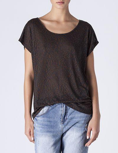 SuiteBlanco- Camiseta devoré animal print