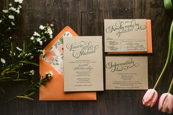 Rustic Wedding Invitation Coral & Kraft by FlairNecessities | Etsy