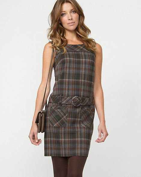 Check Belted Mini Dress