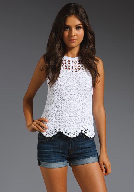 JUICY COUTURE Crochet Tank in White