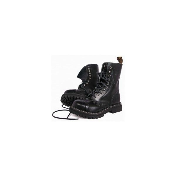 glany STEEL CZARNE (10 dziurek) (105/106/0) ❤ liked on Polyvore featuring shoes, boots, ankle booties, black, footwear, steel boots, black ankle booties, black booties y black boots
