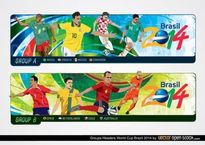 A set of two Brazil World Cup Group headers featuring the teams on Group A and B. Under Creative Commons 3.0 Attribution License.