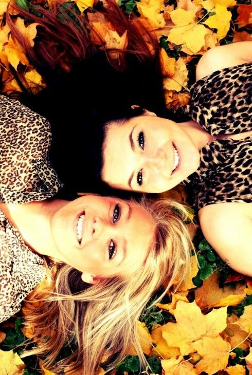 Creative best friends photography in the leaves! Must do! @Megan Ward Ward Ward Ward Ward Crowell