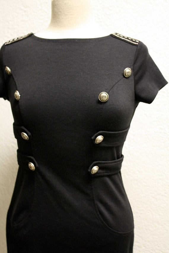 Navy Military style  Black Tunic Slim fit dress by HarmonyWalker, $64.00