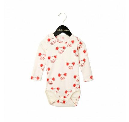 Mini Rodini's Red Mouse LS Bodysuit available from Baby Dino, www.babydino.com.au