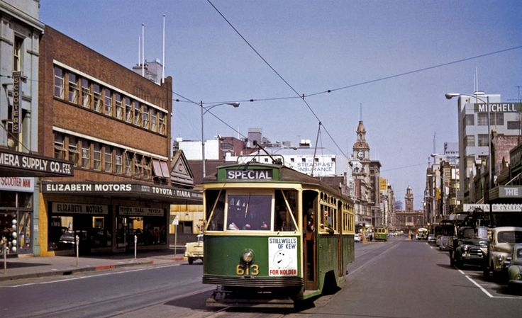 This shot from November 1963 shows the now demolished Elizabeth Motors Building on the left, where Melbourne Central is now.