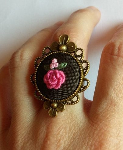 Pink Flower Bouquet Cocktail Ring, Hand Embroidered Ring, Adjustable Ring by RedWorkStitches on Etsy