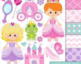 Pincess clipart - PRETTY PRINCESS - Clip art and Digital paper set