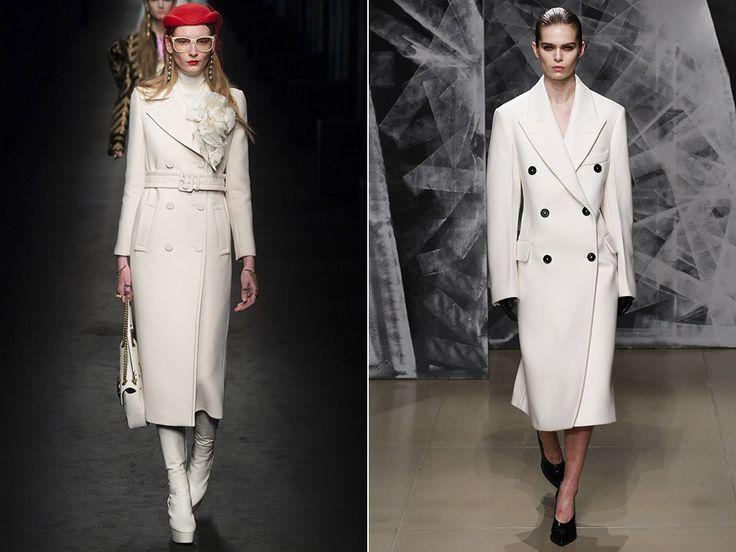 Модные пальто осень-зима 2016-2017  Модные фасоны:Пальто классического кроя  На противовес грубоватым свободным вещам в моду возвращается классика, незаменимая для создания офисных образов. Чтобы быть в тренде, стоит отдавать предпочтение двубортным моделям, прямому или трапециевидному классическому крою, как это сделали Gucci, Bottega Veneta, Christian Dior и Jil Sander. Актуальная длина – до середины икры, цвет – нейтральный – белый.  #MIRAMODASTORE #мода #дизайнерская_одежда…