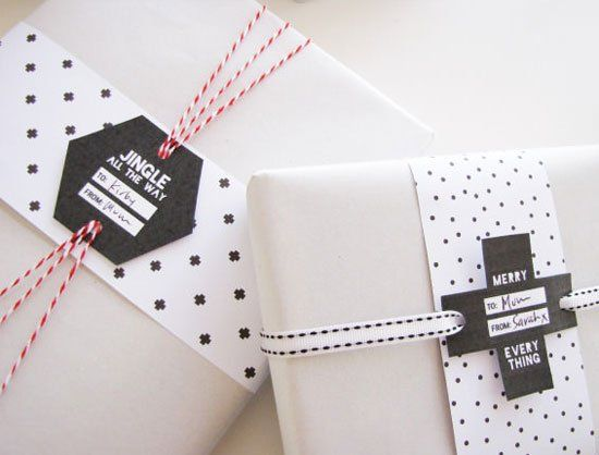 Black & White Free Printable Holiday Gift Tags by Tomfo