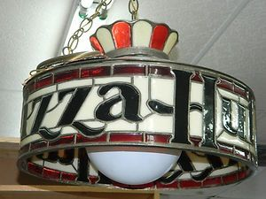 Pizza Hut chandelier. It was always dark in the Pizza Hut and they had red carpet!