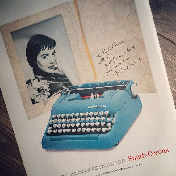 1958 vintage ad for Smith-Corona Typewriters featuring the