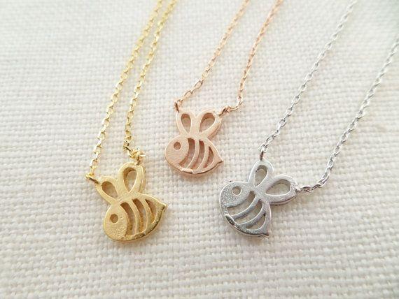 Teeny Tiny Honey Bee Necklace, Bumble Bee necklace, Gold, Rose, Gold or Silver Bee necklace----simple and dainty, everyday necklace