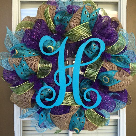 Peacock turquoise and purple door wreath by SouthernWreathDesign