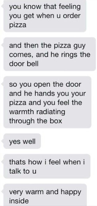 Cute texts. Pizza. Happy. Warm. Love. Couple.