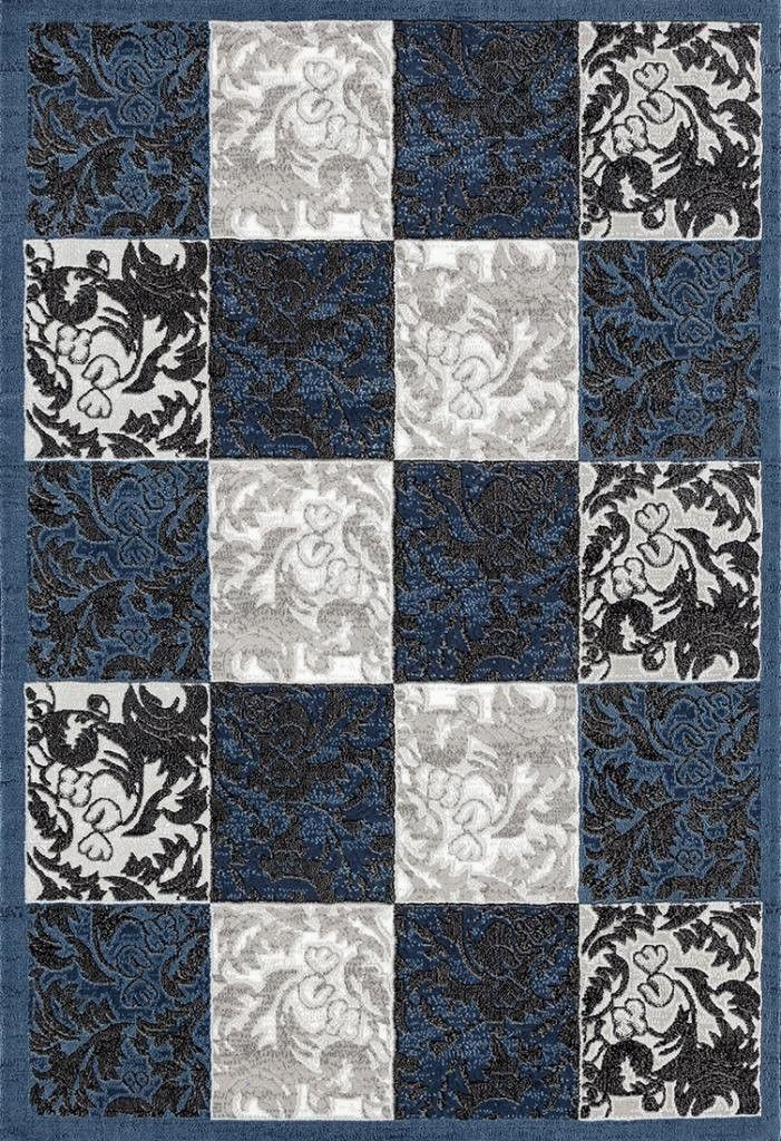 2516 Blue Damask Contemporary Area Rugs. Clearance ...