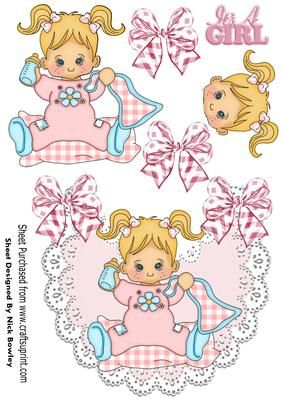 Baby girl with her blanket and bottle on lace bib on Craftsuprint - Add To Basket!