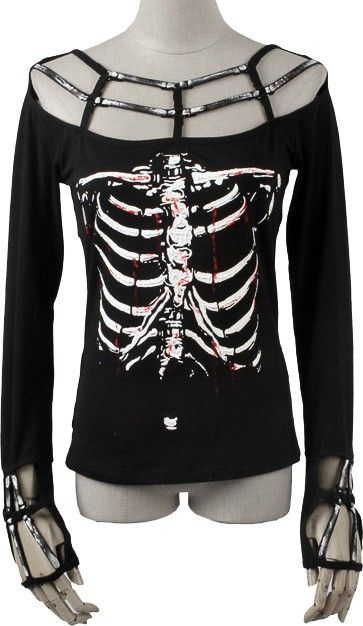 Rib cage women's top by Punk Rave