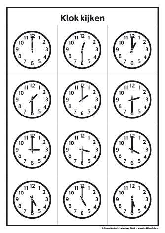 <h1>Klokkijken met Frokkie en Lola deel 2 zwart/wit</h1>Oefen het klokkijken met de werkbladen van Frokkie en Lola. Deze klokken kun je zelf inkleuren.