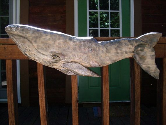 """Gray Whale 39"""" chainsaw wood carving realistic nautical saltwater ocean wall mount art. By oceanarts10 on Etsy"""
