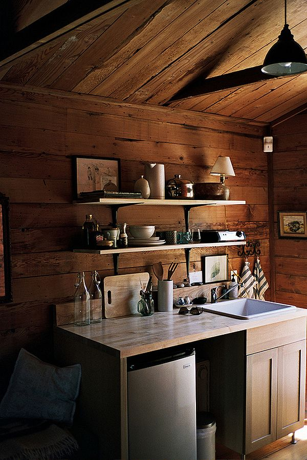Tiny kitchen silver lake cabin l a tiny houses for Small rustic kitchen ideas