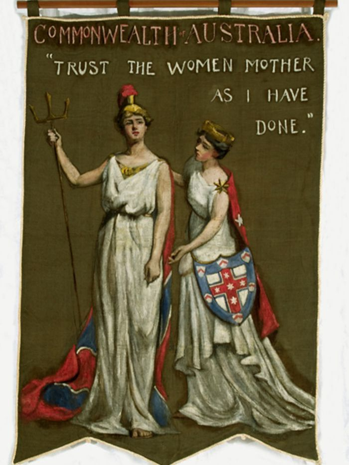 """Australian banner for the great suffrage march in London in June 1908. The Commonwealth of Australia was represented by a banner – painted rather than sewn – that had been designed by Dora Meeson Coates.  It bears the message 'Trust the Women, Mother, As I Have Done,"""" referring to the fact that Australia had granted women the vote 6 years preciously, in 1902."""
