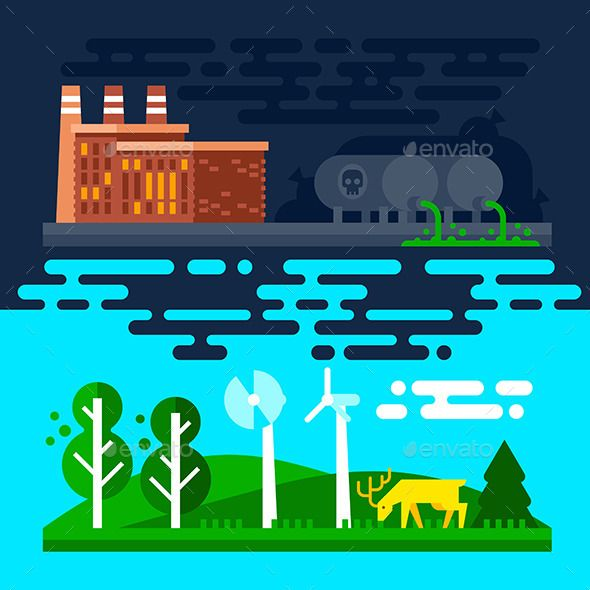 Chemical Waste Pollute the Environment by JulyPluto Good and bad ecology. Chemical waste poisoning the land and water, pollute the environment. Vector flat illustration, no transpare