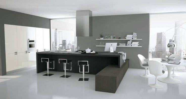 Cucina e soggiorno open space - Stile bianco e nero
