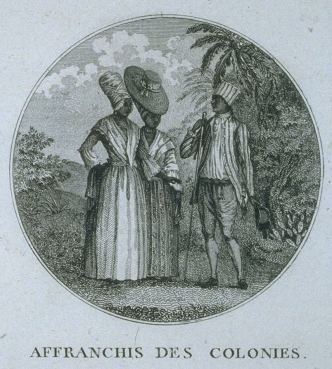 Free People of Color, Saint Domingue (St. Domingue, Haiti), late 18th cent. Nicolas Ponce, Recueil des vues des lieux principaux de la colonie Francaise de Saint-Domingue (Paris, 1791), fig. 26; from a painting by Agostino Brunias. (Copy in the John Carter Brown Library at Brown University) as shown on http://www.slaveryimages.org, compiled by Jerome Handler and Michael Tuite, and sponsored by the Virginia Foundation for the Humanities and the University of Virginia Library.