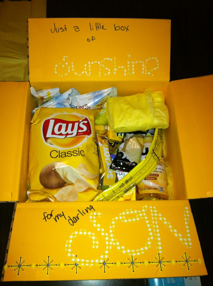 College care package for Jacob. A little box if sunshine for my darling Son. All yellow package