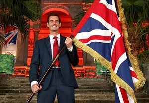 Team GB - British House Reception & Flagbearer PhotocallRIO DE JANEIRO, BRAZIL - AUGUST 03: Tennis player Andy Murray of Great Britain is announced as the flag bearer for Team GB at the British House Reception ahead of the Rio 2016 Olympic Games on August 3, 2016 in Rio de Janeiro, Brazil. (Photo by Clive Brunskill/Getty Images)