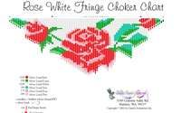 Rose White Fringe Necklace Printable Bead Graph for Beading