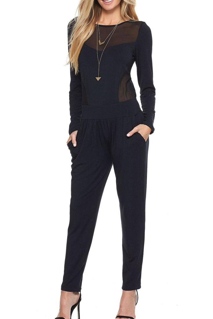 Super soft black jumpsuit, with opaque yoke on top. Pair it with heels and gold jewelry for a great holiday look.   Black Jumpsuit by Tart Clothing. Clothing - Jumpsuits & Rompers - Jumpsuits Montana