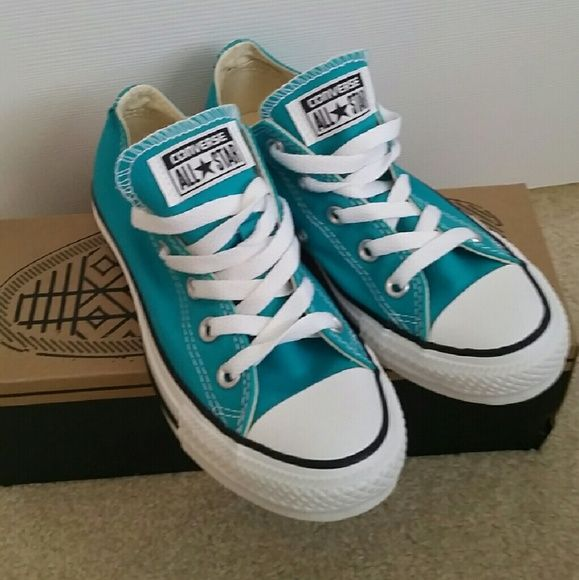 New Converse Sneakers New in box Color: Mediterranean  From b-ball courts to punk clubs. From skateparks to school yards. The Converse All Star has come a long way, and it's ready to take you even further. The original Old School Chucks never lets up. Low top Converse featuring a turquoise canvas upper and rubber sole Converse Shoes
