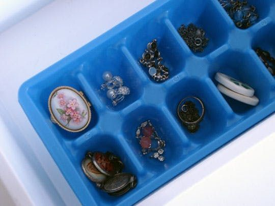 Organize earrings with Ice cube trays