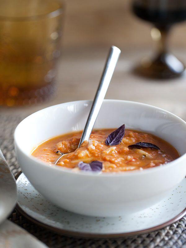 Creamy Roasted Tomato Basil Soup with Orzo Pasta | foodiecrush.com