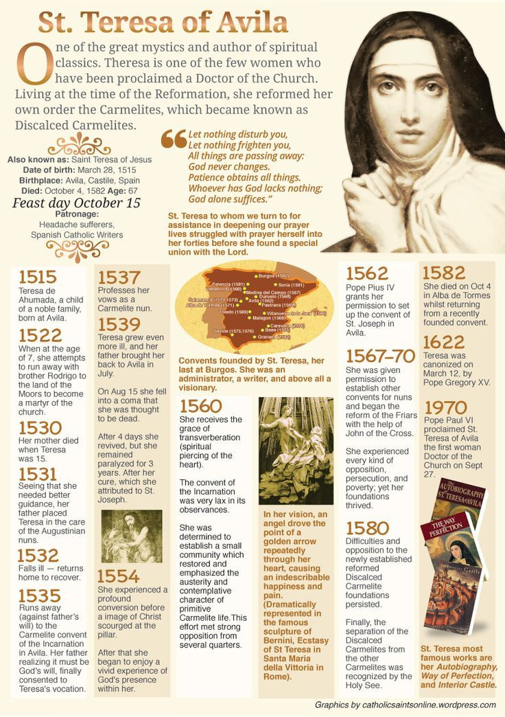 Happy Memorial of St Teresa of Jesus/Ávila – October 15 #pinterest #stteresaofjesus Teresa entered a Carmelite Monastery of the Incarnation in Ávila, Spain, on 2 November 1535. She found herself increasingly in disharmony with the spiritual malaise prevailing at the monastery. Among the 150 nuns living there, the observance of cloister — designed to protect and strengthen the spirit and practice of prayer — became so lax that it actually lost its very purpose. The daily invasion of visitors…